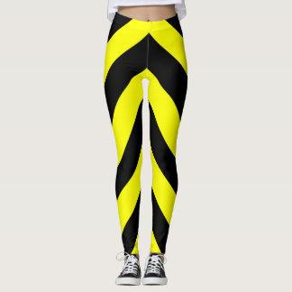 Leggings Lignes noires et jaunes motif