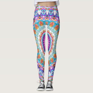 Leggings Mandala pourpre de kaléidoscope
