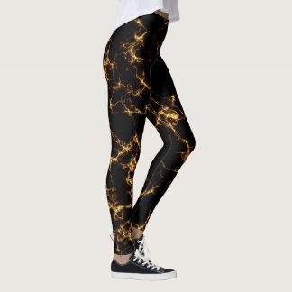 Leggings Marbre élégant style3 - or noir