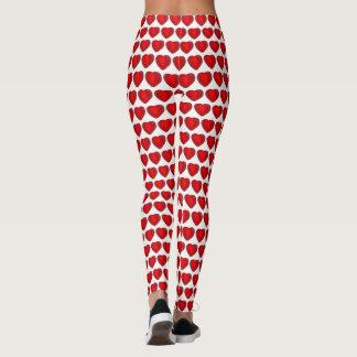 Leggings Motif blanc rouge d'amour de coeur de sucrerie de