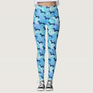 Leggings Motif bleu de teckel d'aquarelle de parties