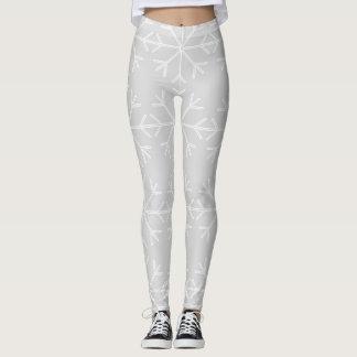 Leggings Motif de flocon de neige - gris et blanc