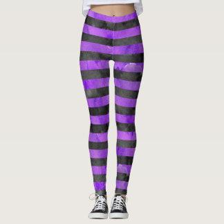 Leggings Motif de la rayure Purple Black de sorcière de