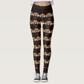 Leggings Motif de la Turquie de patchwork avec Brown