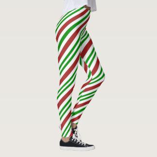 Leggings Motif de sucre de canne de couleur rouge et verte