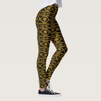 Leggings Motif égyptien en noir et or