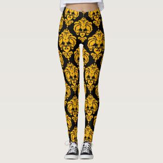Leggings Motif élégant moderne chic de damassé jaune et