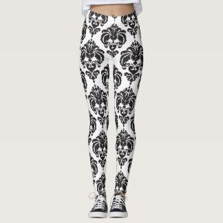 Leggings Motif élégant moderne chic de damassé noire et