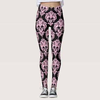 Leggings Motif élégant moderne chic de damassé rose et