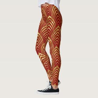 Leggings Motif géométrique d'art déco rouge et brillant
