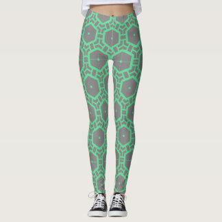Leggings motif gris et vert