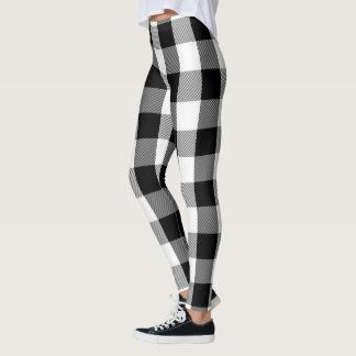 Leggings Motif noir et blanc de plaid de flanelle de
