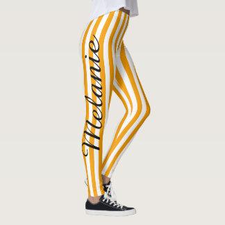 Leggings Motif orange coloré de rayure de yoga mignon