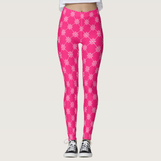 Leggings Motif rose de carré de diagonale de flocons de