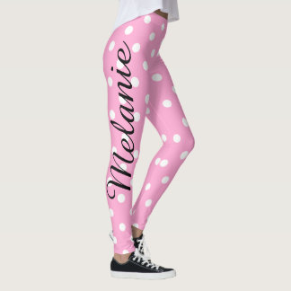 Leggings Motif rose et blanc de yoga mignon de polka de
