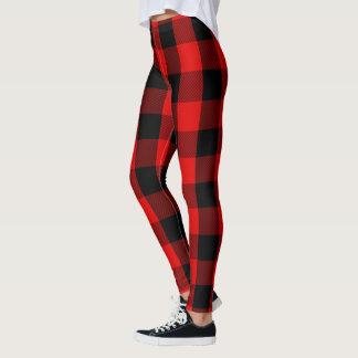 Leggings Motif rouge et noir de plaid de flanelle de