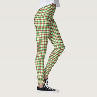 Leggings Motif rouge et vert de plaid