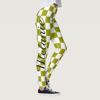 Leggings Motif vert de yoga mignon et blanc coloré de