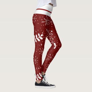 Leggings Noël rouge et blanc de beau feuillage d'hiver