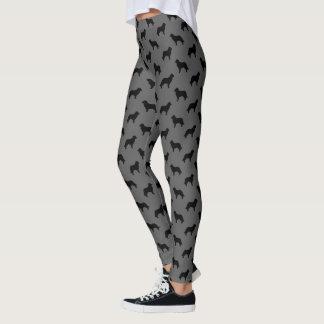Leggings Noir et gris de motif de silhouettes de Leonberger