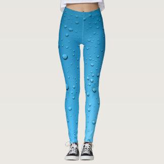 Leggings Pantalon bleu de yoga de gouttelettes d'eau de
