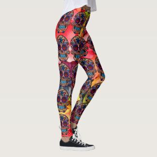 Leggings Pantalon coloré de fiesta de guêtres de crâne de