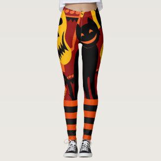 Leggings Pantalon de citrouille de chat noir de guêtres de