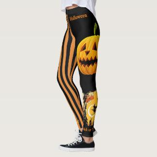 Leggings Pantalon noir de guêtres de citrouille de sorcière