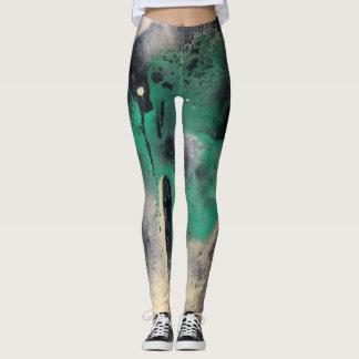 Leggings Peinture verte abstraite d'aquarelle