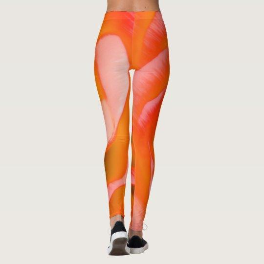 Leggings Plan rapproché orange de fleur de rose rouge