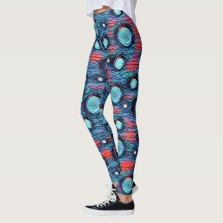 Leggings Points abstraits, motif de bulles, art coloré bleu