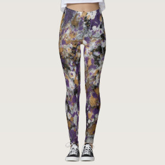 Leggings Pourpre et galaxie d'or