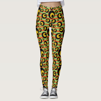 Leggings Rayures jaune-orange de moutarde verte