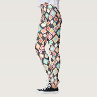 Leggings Rétro motif de carrés colorés