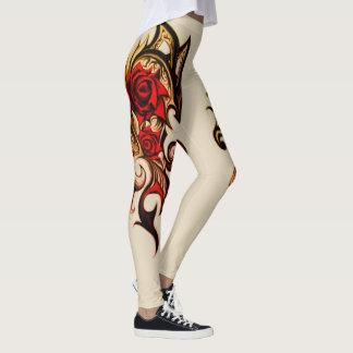 Leggings rose de dragon d'or