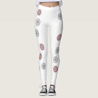 Leggings rouge et blanc gris