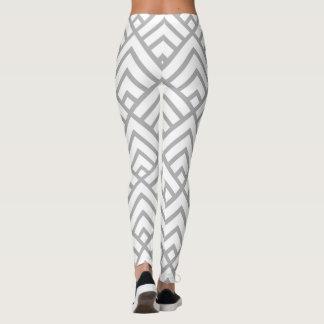 Leggings Triangles géométriques modernes de blanc gris de
