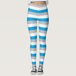Leggings Turquoise, argent et rayures blanches