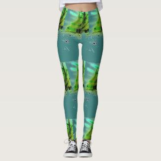 Leggings Turquoise asymétrique d'impression et guêtres