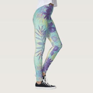 Leggings Turquoise florale de Monoprint et guêtres pourpres