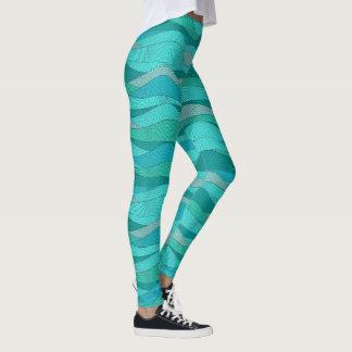 Leggings Vagues bleues turquoises de mer verte