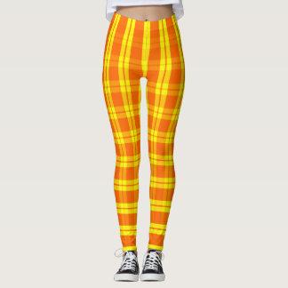 Leggings Verticale orange/jaune, plaid, guêtres