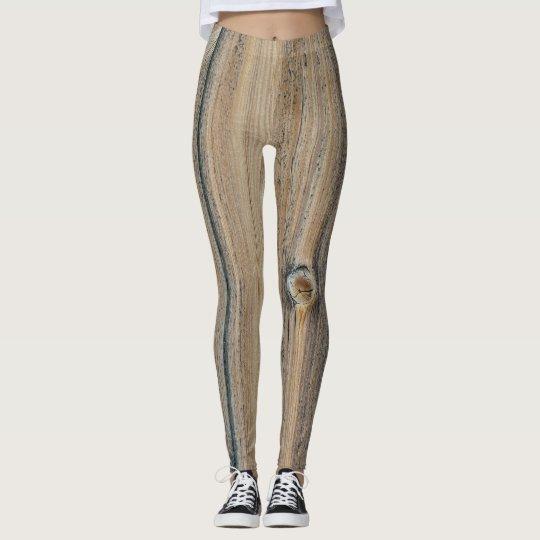 Leggings Wood grain texture in brown shades