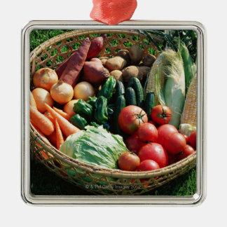 Légumes 5 ornement carré argenté