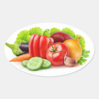 Légumes frais sticker ovale