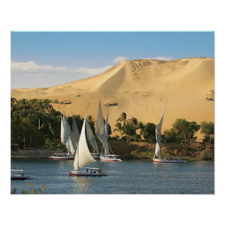 L'Egypte, Assouan, le Nil, voiliers de Felucca, 2 Affiches