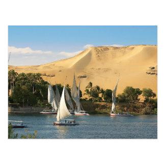 L'Egypte, Assouan, le Nil, voiliers de Felucca, 2 Carte Postale
