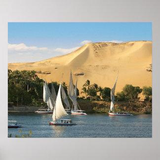 L'Egypte, Assouan, le Nil, voiliers de Felucca, 2 Posters