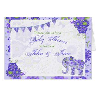 L'éléphant de baby shower fleurit le pourpre cartes