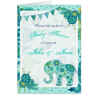 L'éléphant de baby shower fleurit Teal Cartes